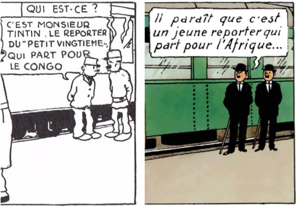 Notera att Hergé ersatt konduktörerna i ruta 1 med Dupondtarna, trots att de ursprungligen inte förekommer förrän i fjärde äventyret. ©Hergé-Moulinsart