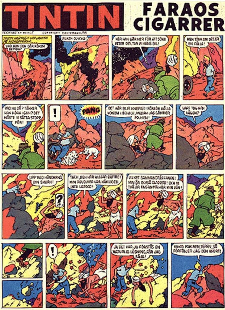 Faraos cigarrer med Tintin ur Kamratposten. ©PIB