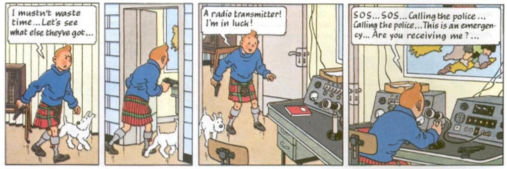 Motsvarande serierutor ur seriealbumet, översta strippen på sidan 56. ©Hergé-Moulinsart
