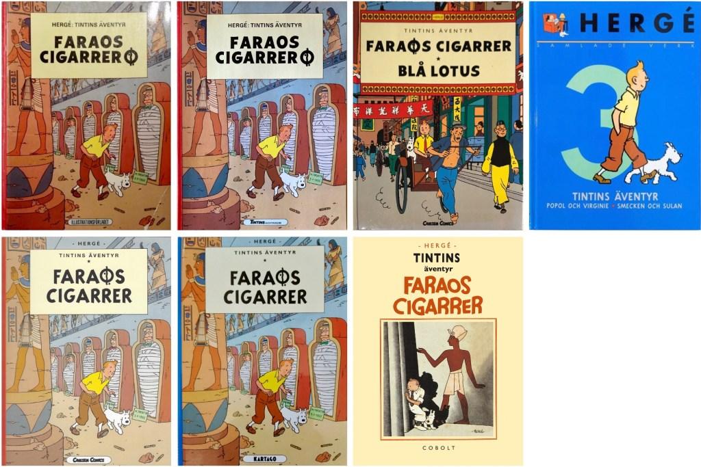 Faraos cigarrer är det seriealbum med Tintin som utkommit med flest utgåvor. ©Bonniers/Carlsen/Kartago/Cobolt/Nordisk bok