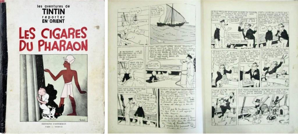 Den ursprungliga utgåvan med Les Cigares du pharaon (1934). ©Casterman/Hergé-Moulinsart