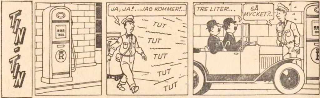 Den inledande strippen av Det svarta guldet, med Tintin , från 27 februari 1964. ©PIB