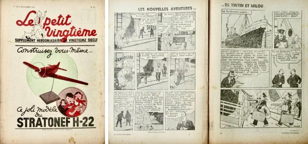 Framsida och uppslaget med Det svarta guldet ur Le Petit Vingtième N. 45 från 9 november 1939. ©Le XXe Siècle/Hergé-Moulinsart