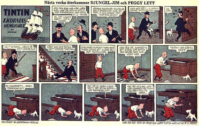 Tintin ur Familjejournalen. ©PIB