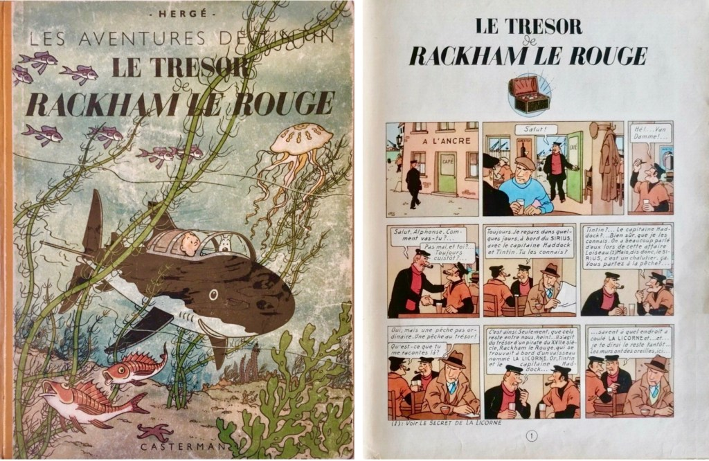 Omslag och förstasida ur Le Trésor de Rackham le Rouge (1944). ©Casterman/Hergé-Moulinsart