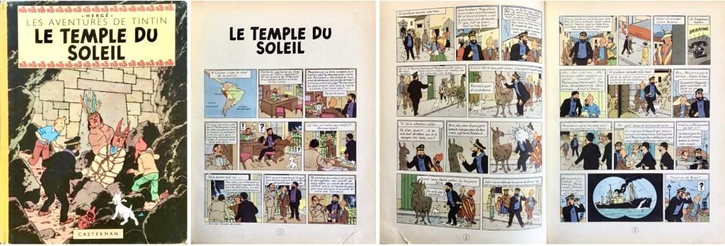 Omslag och inledande sidor till Le Temple du Soleil (1949). ©Casterman/Hergé-Moulinsart