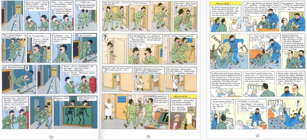 Motsvarande del av episoden som sidorna 24-26 i seriealbum, med en sida tilltecknad som utfyllnad. ©Hergé-Moulinsart