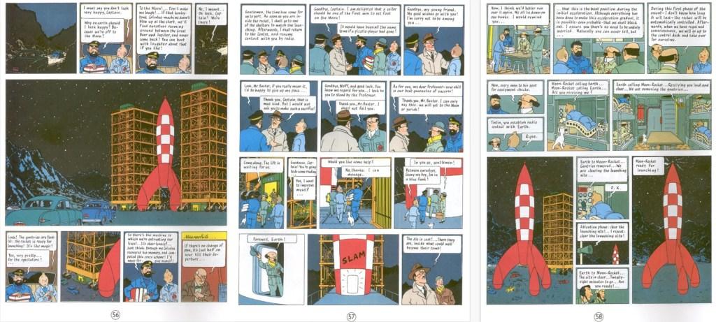 Motsvarande del av episoden som sidorna 56-58 i seriealbum, med en del tilltecknat och annat borttaget. ©Hergé-Moulinsart