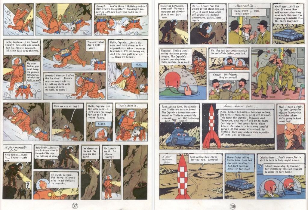 Motsvarande del av episoden på sidorna 38 i del 2, där mycket ur originalet saknas mellan sidorna 37 och 38. ©Hergé-Moulinsart