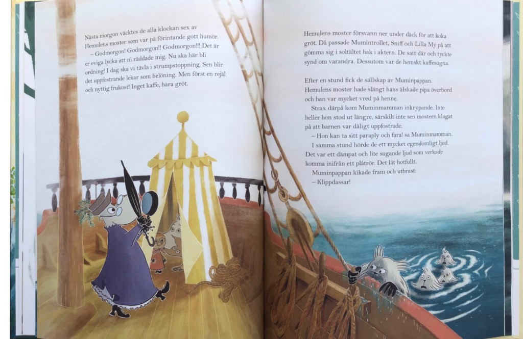 Ett uppslag ur boken, med hemulens moster och anländande klippdassar. ©Bonnier/Carlsen