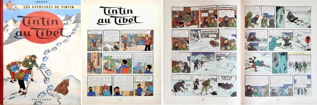 Omslag, förstasida och ett uppslag ur Tintin au Tibet (1960). ©Casterman/Hergé-Moulinsart