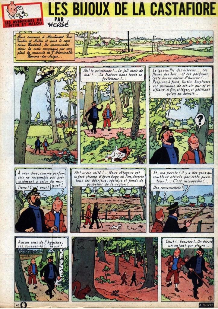 Den inledande sidan av Les Bijoux de la Castafiore ur Le Journal de Tintin från 4 juli 1961. ©Hergé-Moulinsart