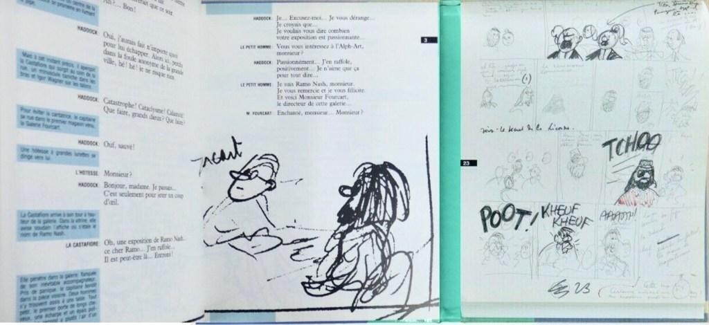 Utskriven dialog (t.v.), och skisser (t.h.). ©Casterman/Hergé-Moulinsart