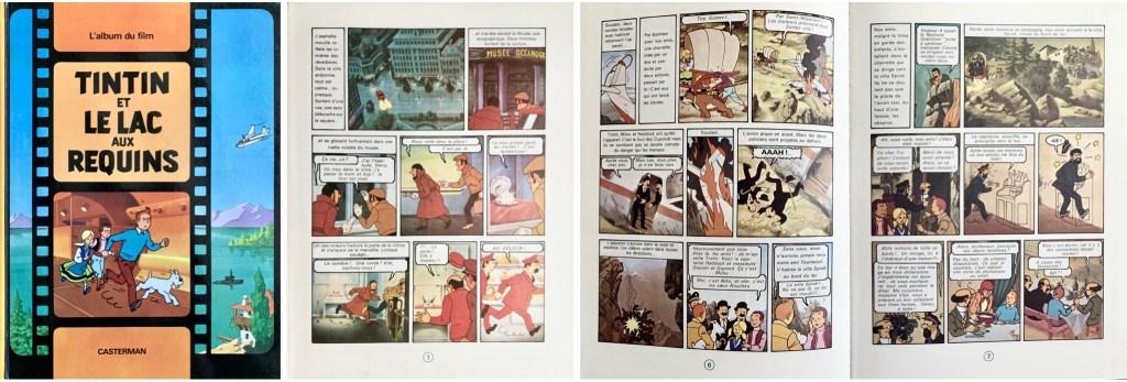 Omslag, förstasida och ett uppslag ur Tintin et le lac aux requins (1973). ©Casterman/Hergé-Moulinsart