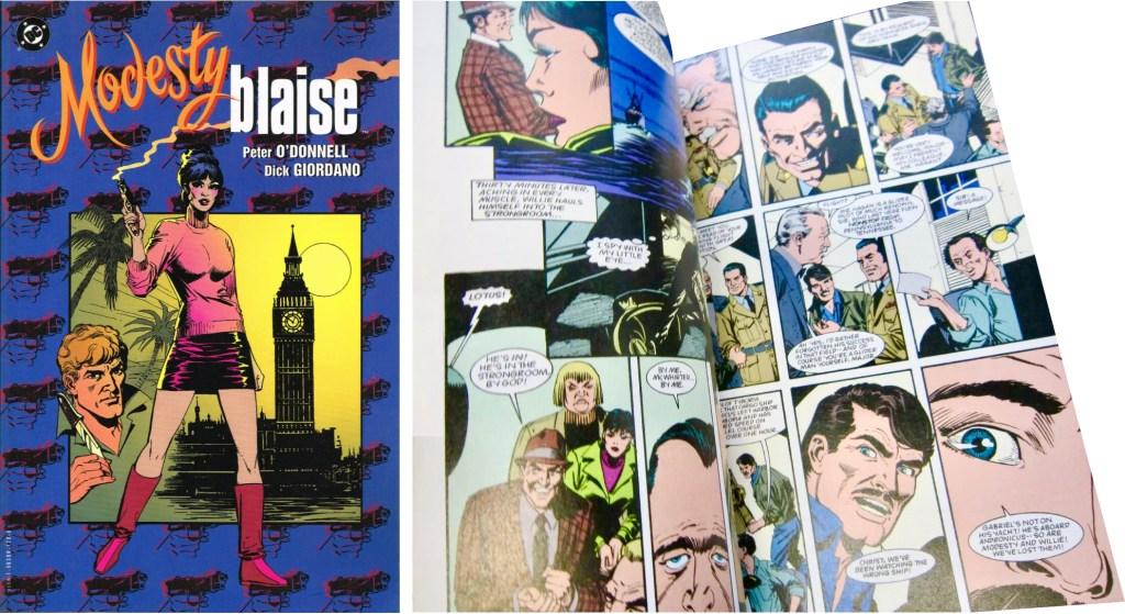 Omslag och ett uppslag ur Modesty Blaise av O'Donnell och Giordano. ©D.C.