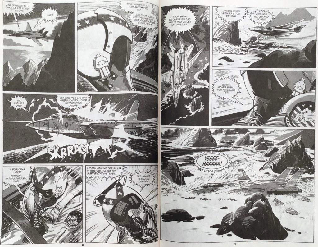 Ett uppslag med Monster Island ur Fantomen nr 19, 1999. ©Compass