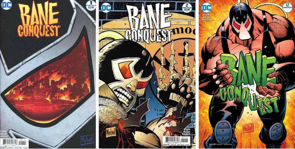 Omslag till Bane Conquest #1, #2 och #12. ©DC Comics