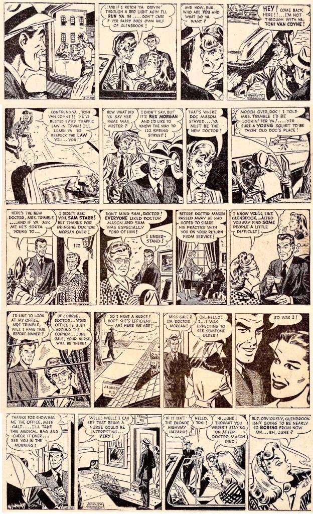 De fortsatta dagsstripparna den första veckan, från 11-15 maj 1948. ©Publishers