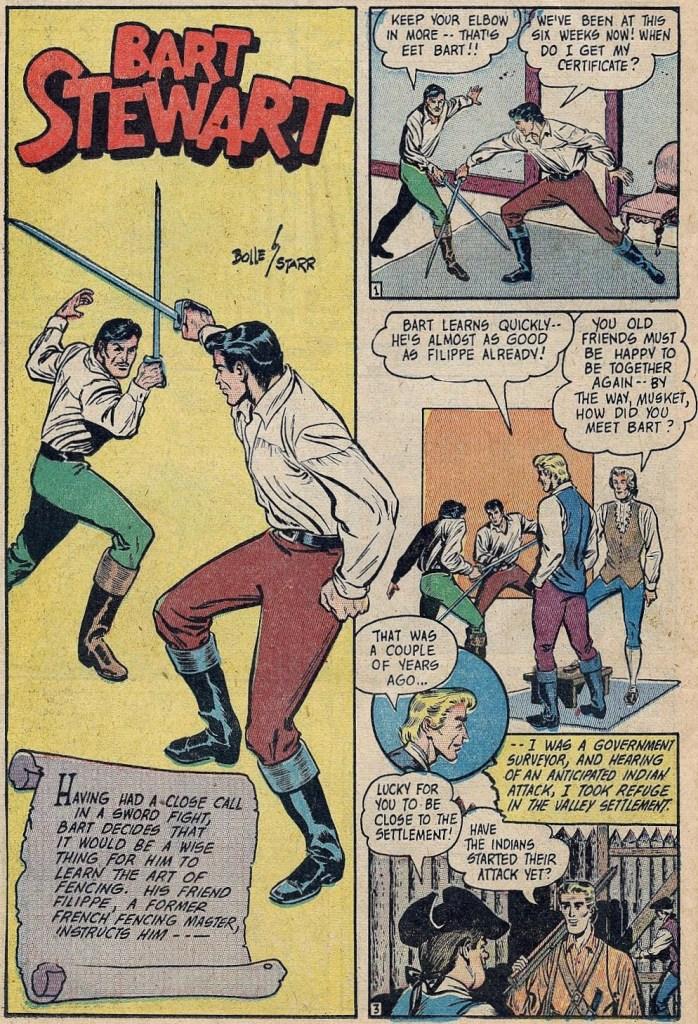 En sida med serien Bart Stewart, ur serietidningen Crown Comics #12 (februari 1948), skapad tillsammans med Frank Bolle. ©McCombs Publications