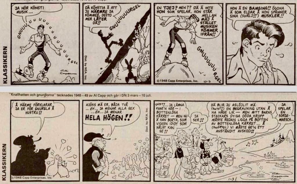 Första och sista strippen i DNs publicering av serien. ©Bulls