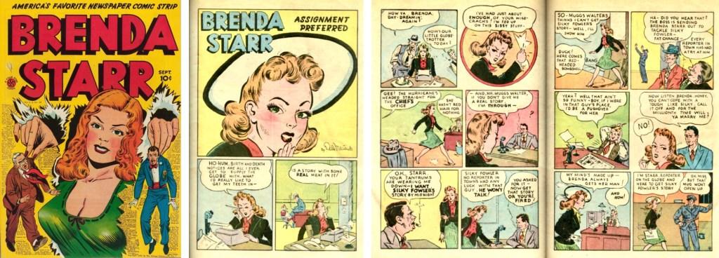 Omslag, förstasida och inledande uppslag ur Brenda Starr Comics #1 (1947). ©CT/NYNS