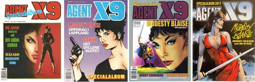 Några omslag för Agent X9 Specialalbum, med Modesty Blaise i innehållet. ©Semic/Egmont