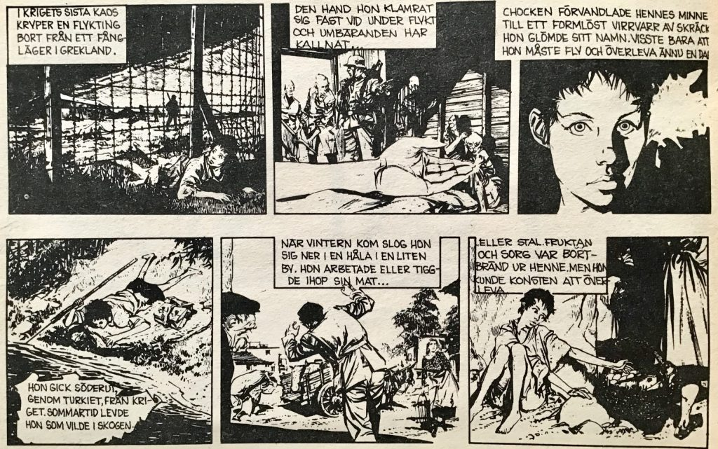 Inledande strippar ur Comics nr 5, från resumén Början på historien. ©Bulls