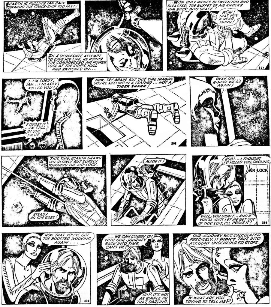 Några dagsstrippar (nr 297-300) återgivna i Menomonee Falls Gazette #14 från september 1970. ©The Sun