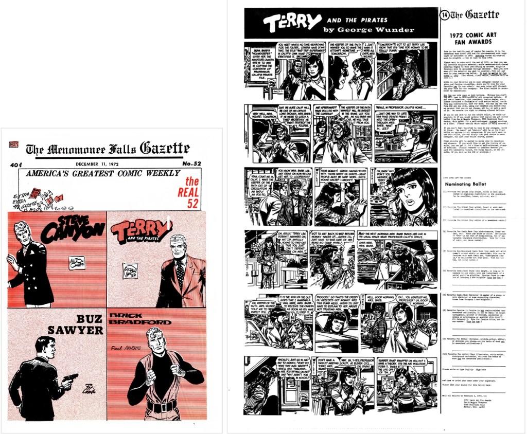 Omslag och seriesidan ur Menomonee Falls Gazette #52. ©Street Enterprises/CTNYN