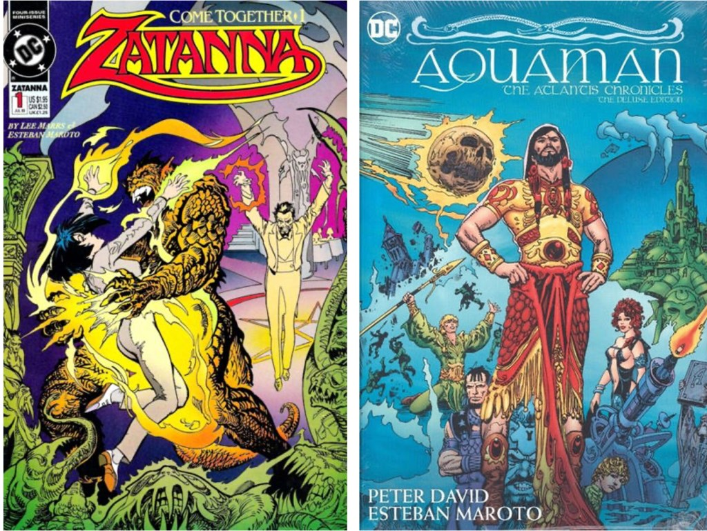 Omslag till Zatanna #1 (1993) och Aquaman, The Atlantis Chronicles - The Deluxe Edition (2018). ©DC