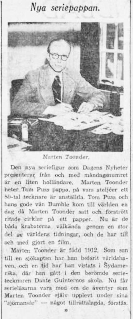 Introduktion av Tom Puss i DN, från 17 februari 1946. ©DN