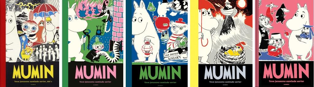 Omslag till Mumin nr 1-5: Tove Janssons samlade serier. ©Alfabeta
