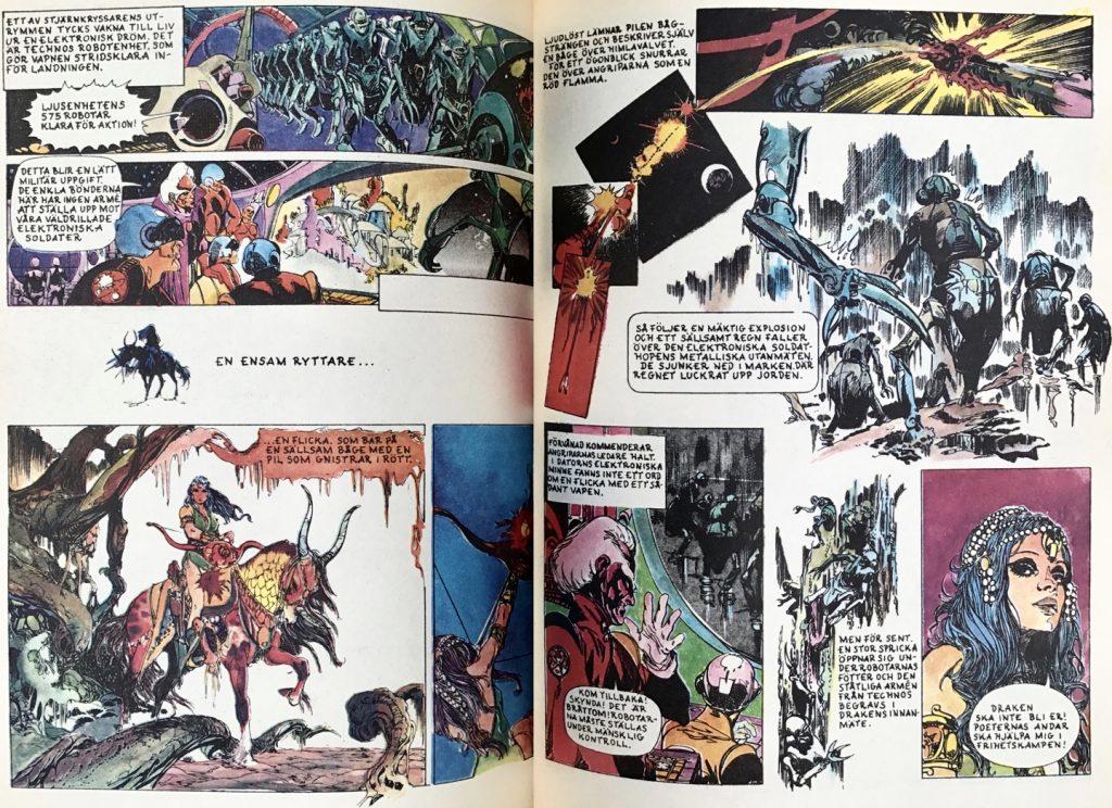 Ett uppslag med Alma- Drakens själ, ur Comics nr 7. ©Carlsen/Doncel