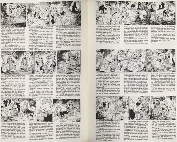Inledande uppslag av episoden Tom Puss och puckmynten, ur Moderna fabler 1. ©Alvglans/STA
