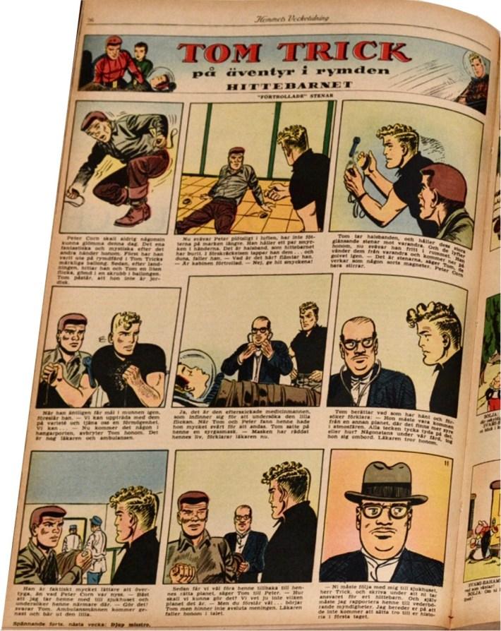 En sida med Tom Trick ur Hemmets Veckotidning (1957). ©Bulls