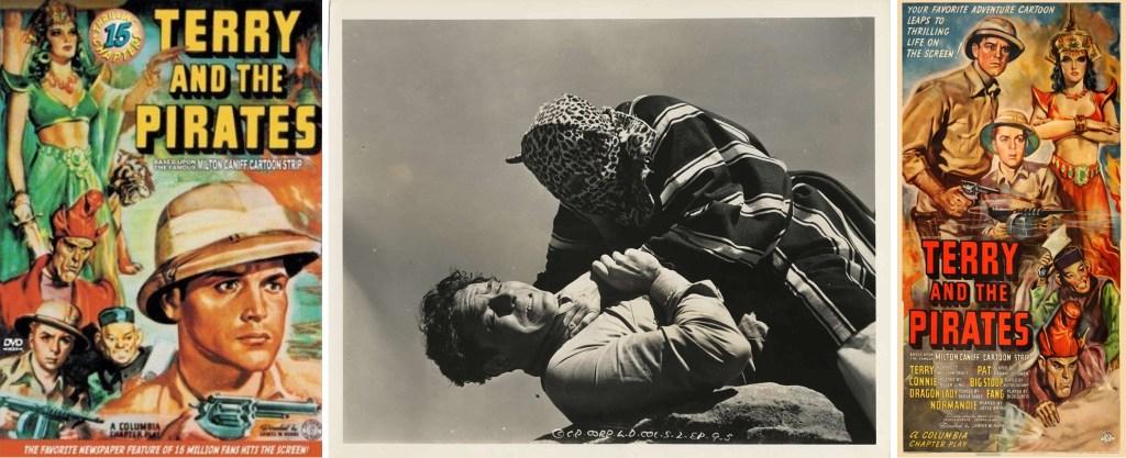 Ett par filmaffischer och en stillbild ur filmserien från 1940. ©Columbia