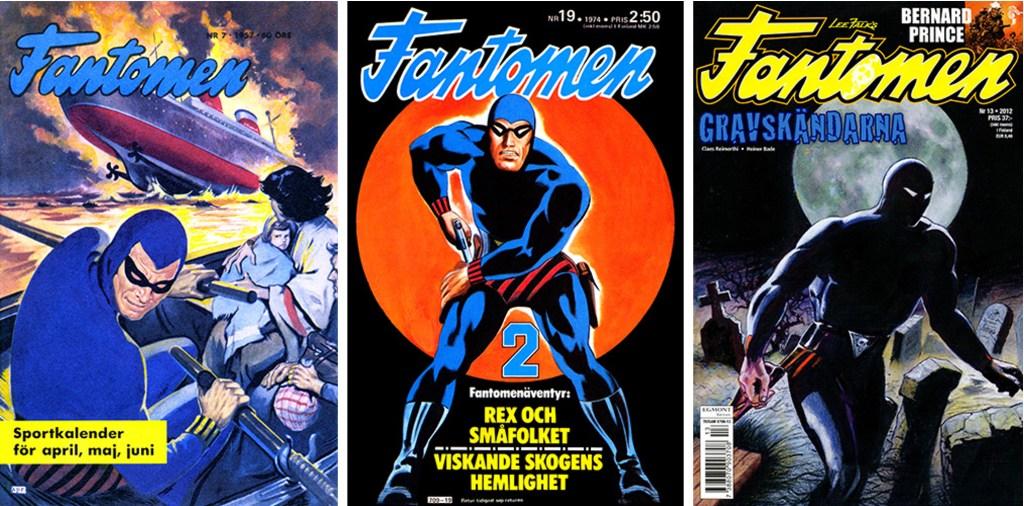 Tre omslag till Fantomen av Rolf Gohs, det första (nr 7/1957) och det sista (nr 13/2012) och däremellan ett av de bästa (nr 19/1974). ©Å&Å/Semic/Egmont