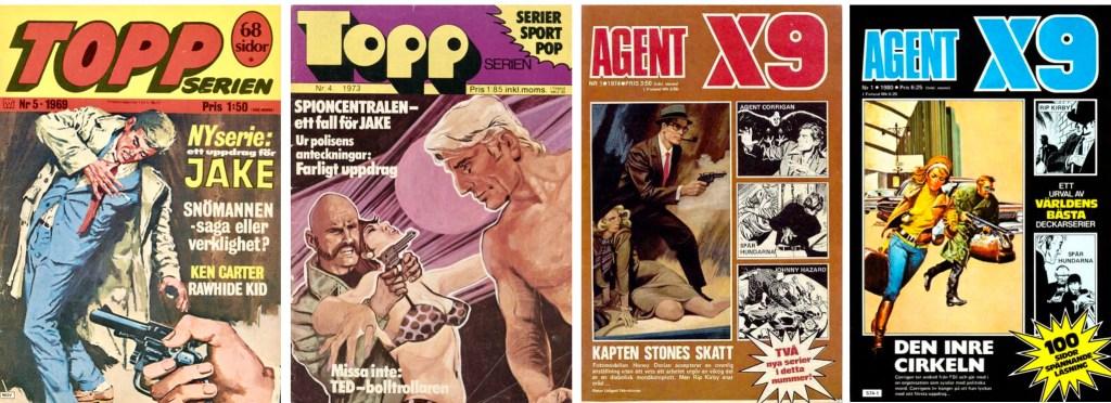 Omslag till ett par nummer av Topp-serien och Agent X9. ©Williams/Semic