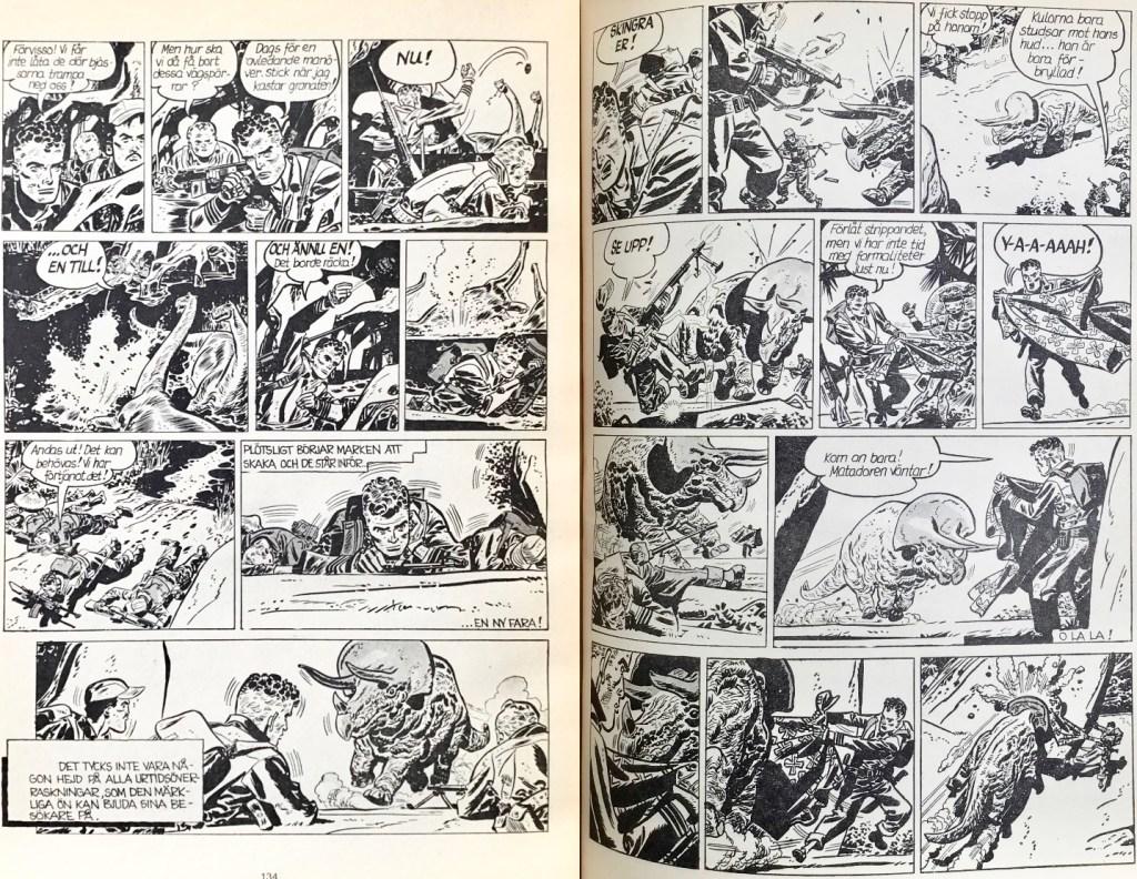 Ett uppslag med Johnny Hazard ur episoden i Comics nr 6. ©Bulls