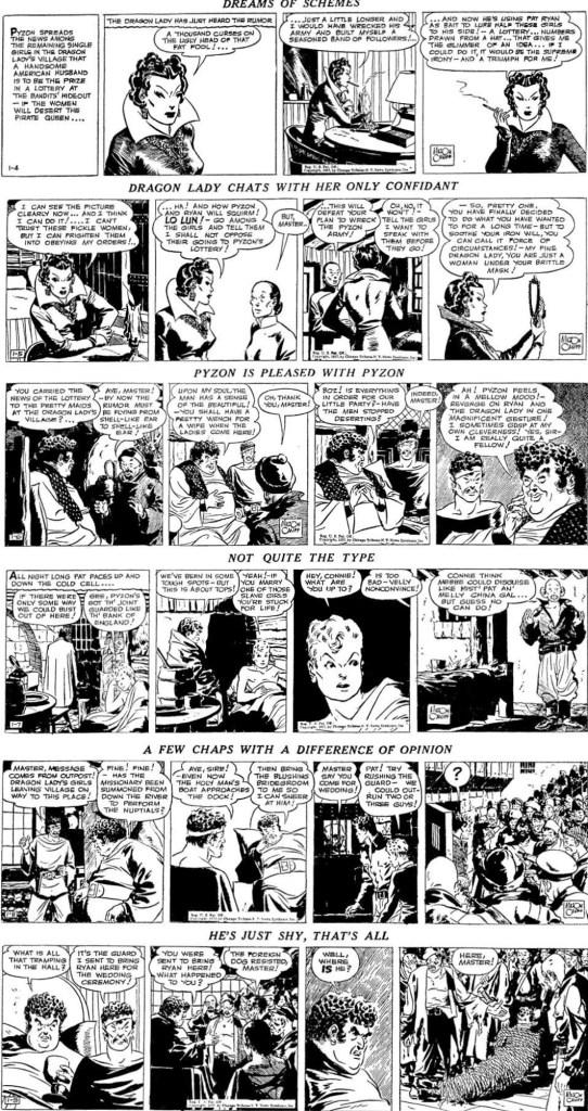 Några serierutor ovan var tagna från motsvarande dagsstrippar i original, från 4-9 januari 1937. ©CTNYN