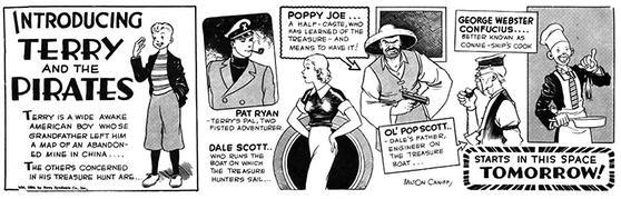 """Introduktionsstrippen till """"Terry och piraterna"""" från 1934 presenterar huvudfigurer och bifigurer i den första episoden. ©CTNYN"""