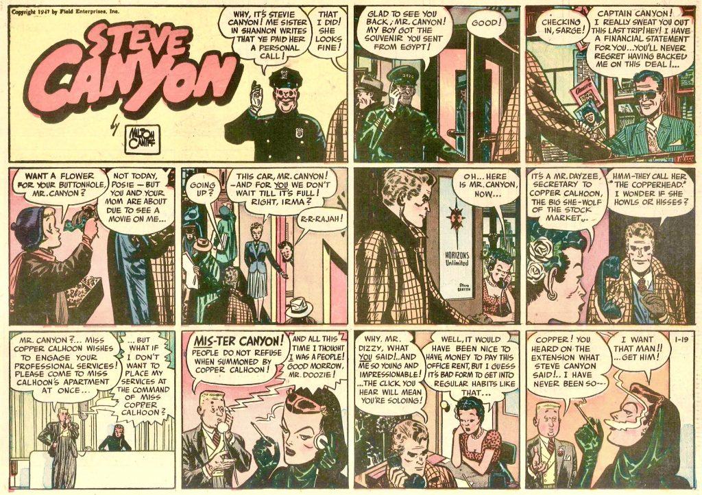 Första söndagssidan med Steve Canyon, från 119 januari 1947. © Milton Caniff
