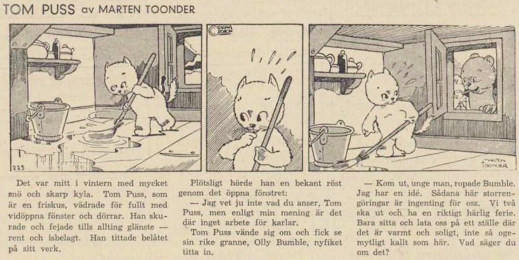 Första införandet av Tom Puss i Dagens Nyheter 18 februari 1946.