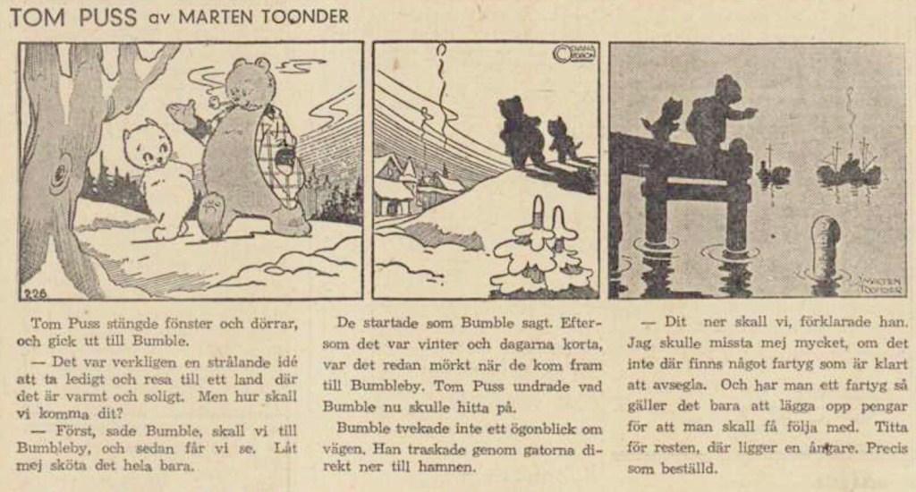 Införandet av Tom Puss i DN 19 februari 1946. ©STA
