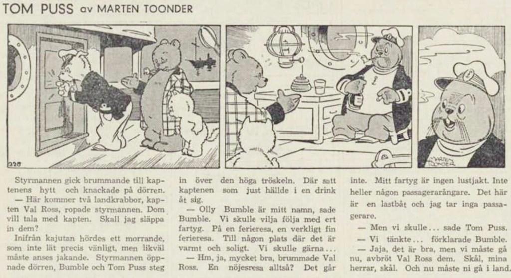 Införandet av Tom Puss i DN 21 februari 1946. ©STA