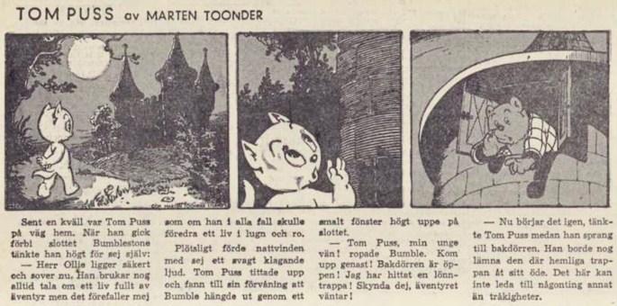 Dagsstripp nr 2266 (ursprungligen från 4 augusti 1954), ur DN 9 juni 1955, inleder det 61:a äventyret med Tom Puss. ©STA
