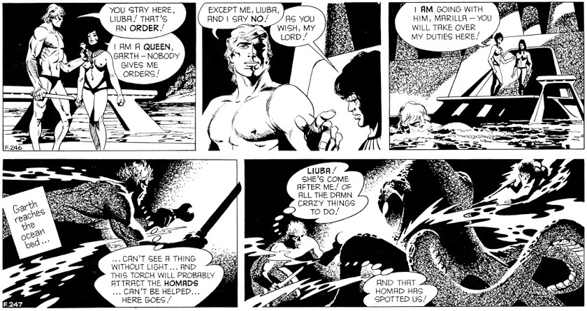 Ett par dagsstrippar ur den 72:e episoden med Garth, People of the Abyss, av Jim Edgar (manus) och Frank Bellamy (teckningar), stripparna F246-247 (1972). ©Daily Mirror