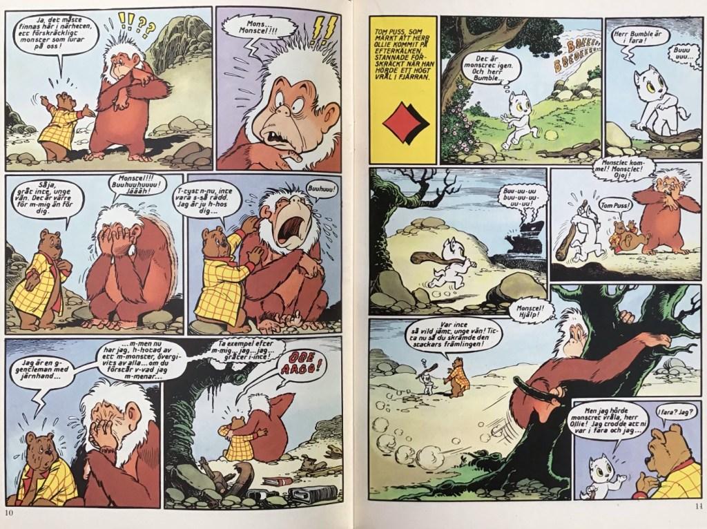 Ett uppslag ur det andra seriehäftet, Monstret i Hummeldalen. ©STA