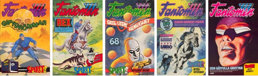 Omslag till Fantomen nr 15-16, 18-19 och 21, 1982. ©Semic