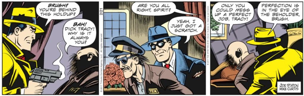 En dagsstripp med Dick Tracy från 21 februari 2017. ©TCA/Eisner